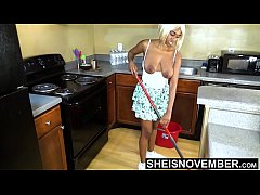 Busty Black Step Daughter Let Loose Curvy Breasts To Clean Stuffy Kitchen Before Dad Arrives, Tiny Msnovember Giant Pretty Nipples And Sexy Areola Released On Saggy Tits HD On Sheisnovember