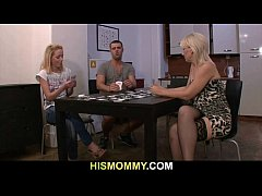 Pussy toying after strip poker with his mom