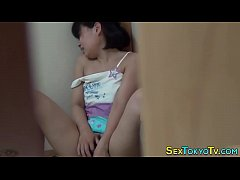 Teen asian rides cucumber...
