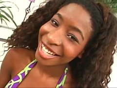 sexy ebony teen does it all with a smile