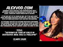 Hotkinkyjo tons of balls in destroyed anal hole & prolapse