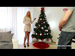 Skinny blondes Christmas wishes come true with a giant fat cock!