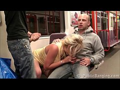 Clip sex A beautiful blonde with big tits is having sex in a subway, with 2 of her friends with big cocks, with a deep oral blowjob group orgy, hard vaginal penetration in her tight cunt, and all while riding a subway train where everybody can see them any time