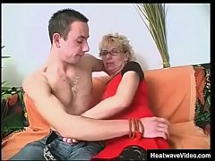 Horny granny teaches grandson how to fuck