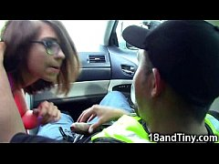 95 lbs Teen Blowjob in a Car in Public!