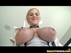 Haley Cummings oils up her titties and plays with Voodoo's big man rod