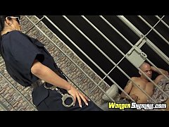 Shemale cop Barbara Caroline fucked by inmate