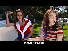 Big Ass Teen Step Sister Jennifer Jacobs And Her Mom Ariella Ferrera Fuck Her New Step Brother During Independence Day BBQ Next To Dad