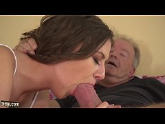 Teen blowjob on old man cock gags on his cumshot