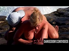 Seaside Interracial DP for Gorgeous Busty Blond...