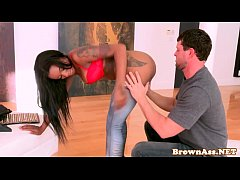 Ebony booty blowjob babe facialized