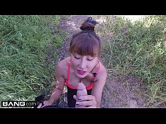 Asian MILF Tiffany Rain is showered in cum after her hike