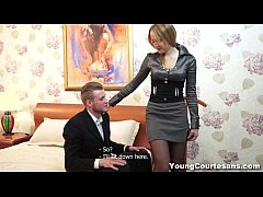 Young Courtesans - This cute blonde teeny has just registered on a courtesan site