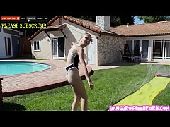 Teenie blonde Kate Bloom playing Slip and Slide and Suck!