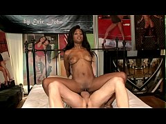 Chocolate babe Ivy Sherwood knows how to give pleasure to this horny dude