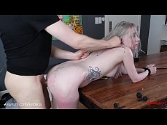 Beautiful bubble-butt blond gets brutally paina...