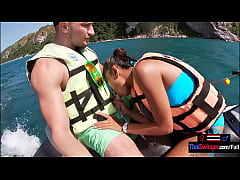 Jetski blowjob in public with his real Asian te...