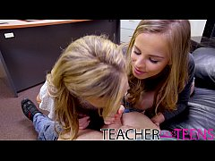 Schoolgirls squirting orgasm with teacher and m...