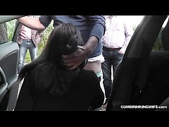 Slutwife Marion gangbanged by 20 strangers at a...