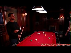 Buff ebony gay hunks anal fuck after playing pool