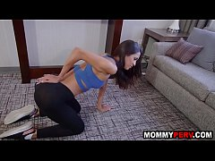 Fit stepmom doing yoga and teasing son to fuck her
