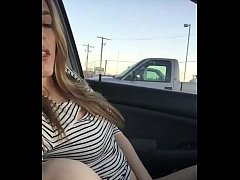 Hot blonde girl next door fingers herself in her car