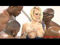 Busty blonde whore ass fucked by many big black...
