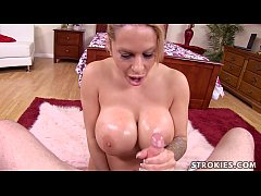 Alyssa Lynn Lubes Cock and Giant Tits For Cum Blasting Facial