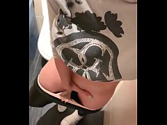 Solo masturbation and femal orgasm on public toilet