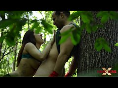 Leena Ray manhandle Rick Hard in the forest part 1