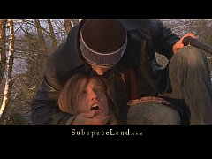 Harsh dominant torments his slave out in the cold