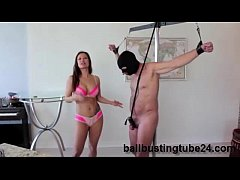 Ballbusting Surprise with Lady...