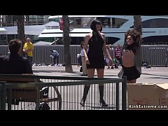 Phim sex Petite brunette Euro slave Melody Petite on the dock disgraced and presented naked by her master Steve Holmes
