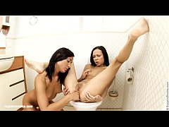 Hot fingering in the bathroom on Sapphic Erotica with Irene and Kelsie
