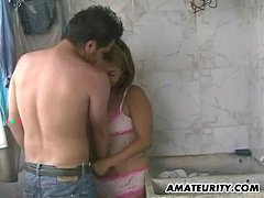 Busty amateur girlfriend sucks and fucks in her bathroom