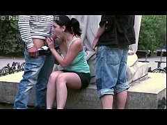 Young cute teen girl fucked in threesome on public street by a famous statue