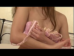 Sweet Mei in pink plays with her heart vib toys hairy pussy