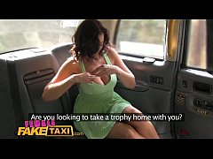 Female Fake Taxi Big tits babe licks hot shaven pussy on bonnet in forest