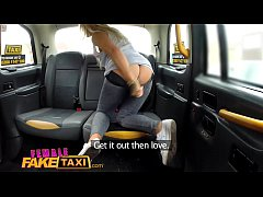 Female Fake Taxi Busty blonde in lesbian sexual anal play workout
