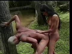 Sexy shemale with nice tits gives and takes cock outdoors