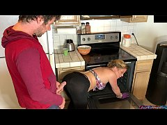 Stepmom in the kitchen takes stepson's dick after he takes the wrong pills - Erin Electra
