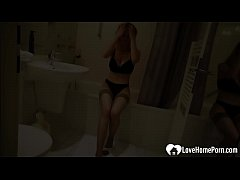 Amazing blonde babe masturbates in her bathroom