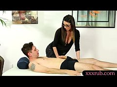 Busty masseuse Dava Foxx gets fucked on massage...