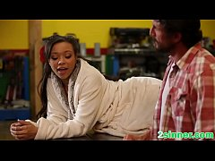 Clip sex A sexy ebony accountant gets her nice pussy fucked hard by a horny white stud