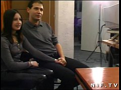 Casting young amateur couple fucking and toying on the desk