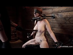 Immobilized busty redhead slave zappered
