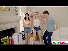 Tiny teen friends stalked by her horny stepbrother