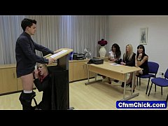 Clothed babe humiliates