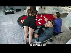 HD TeenPies - Poker Players Run Train On Teen Slut
