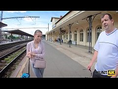 HUNT4K. Hunter meets girl on station and lures ...